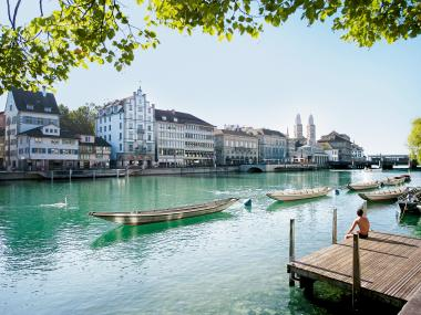 Summer in Zurich, View on the River Limmat